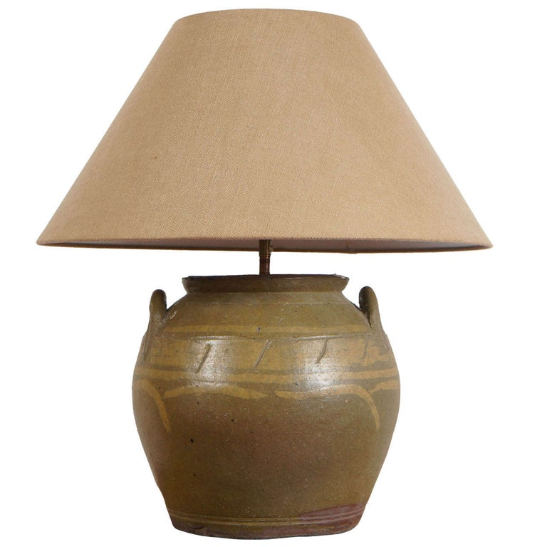 Rustic Chinese Earthen Ware Pottery Lamp