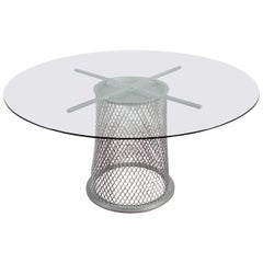 """Sculptural"" Metal Pedestal Base Dining Table"