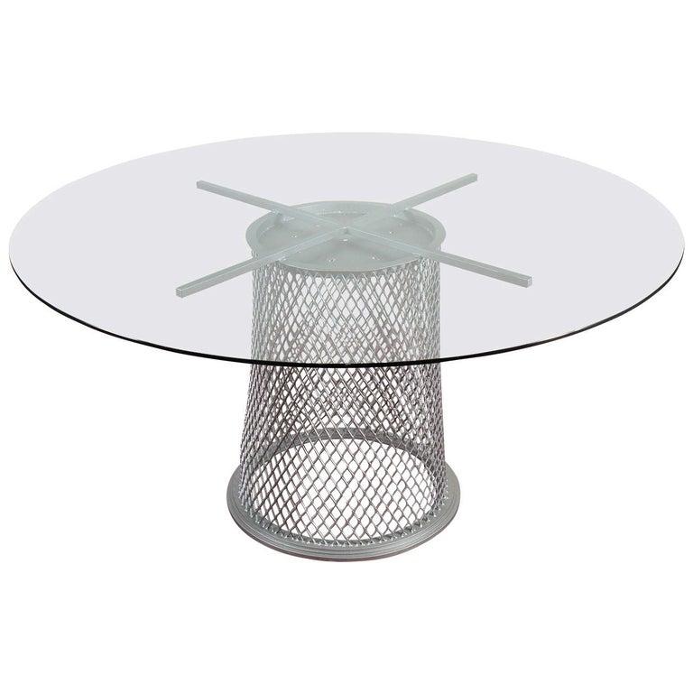 """""""Sculptural"""" Metal Pedestal Base Dining Table For Sale"""