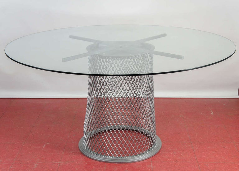 This pedestal base table can be used as a dining table or a centre hall table. Depending on the size of top, one can easily seat up to eight. Great for outdoors or indoors. Table can be sold without the glass top. Stone or wood will work equally