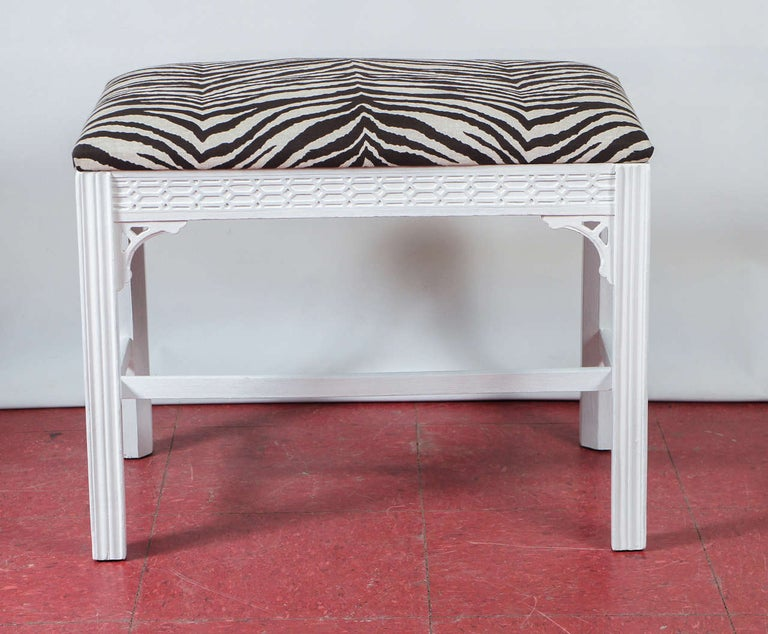 American Chinese Chippendale-Style Painted Bench For Sale