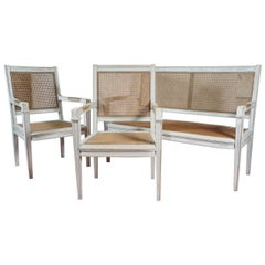 Directoire Style Bench and Two Chairs