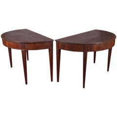 Pair of Mahogany Demilune Tables