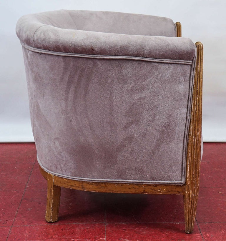 Pair of French Art Deco Barrel Back Armchairs In Fair Condition For Sale In Great Barrington, MA