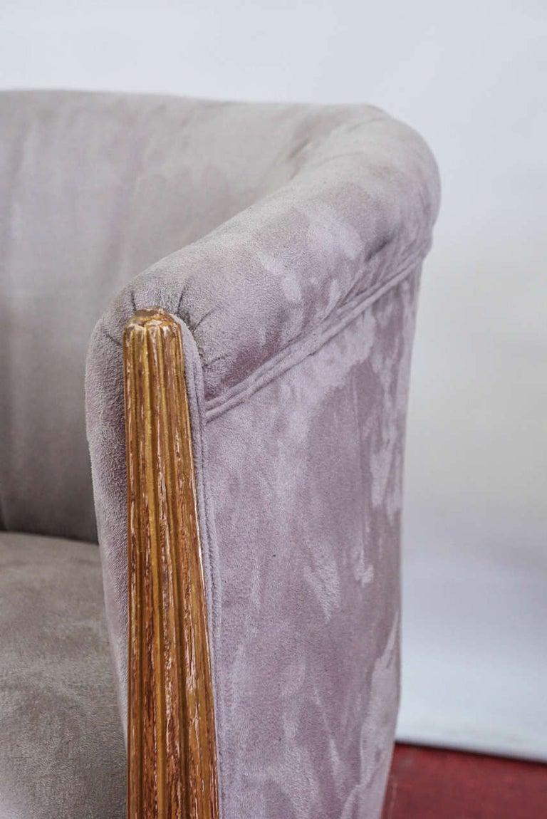 Ultrasuede Pair of French Art Deco Barrel Back Armchairs For Sale