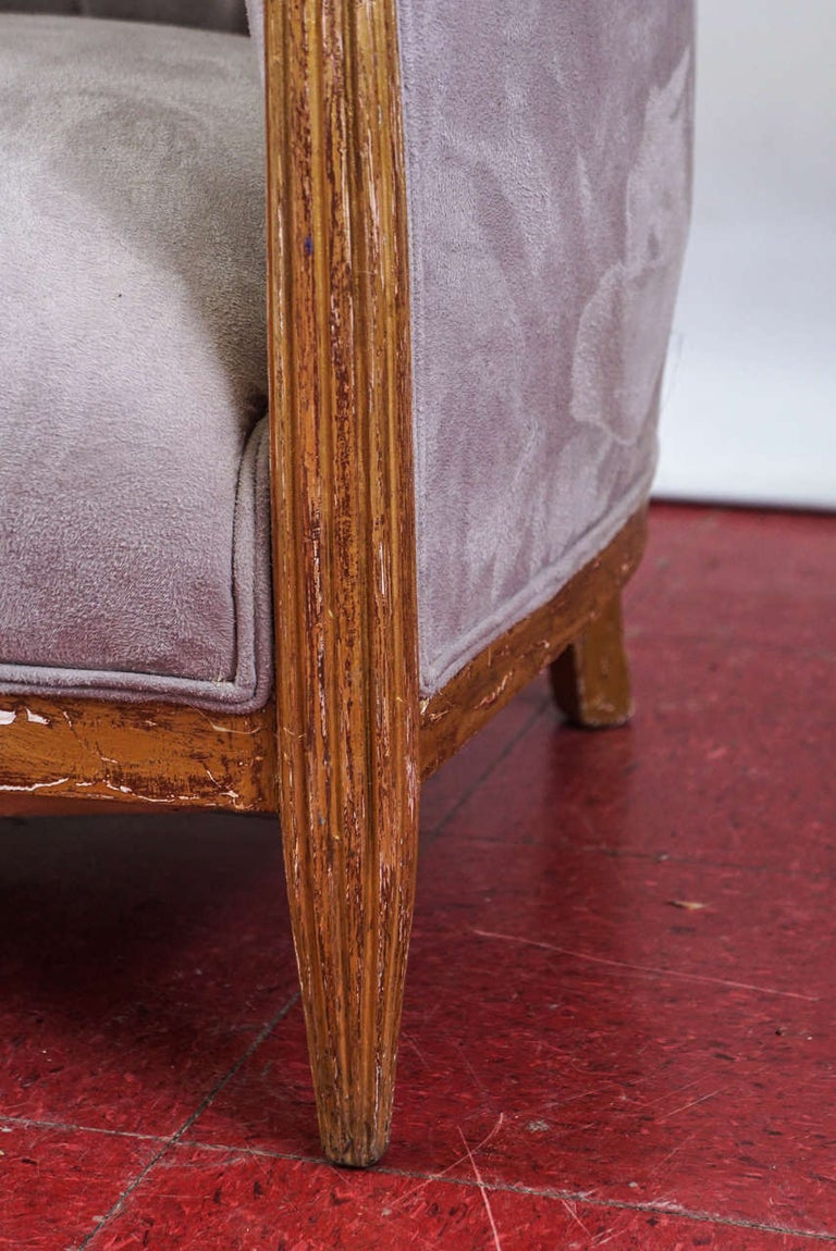 Pair of French Art Deco Barrel Back Armchairs For Sale 1
