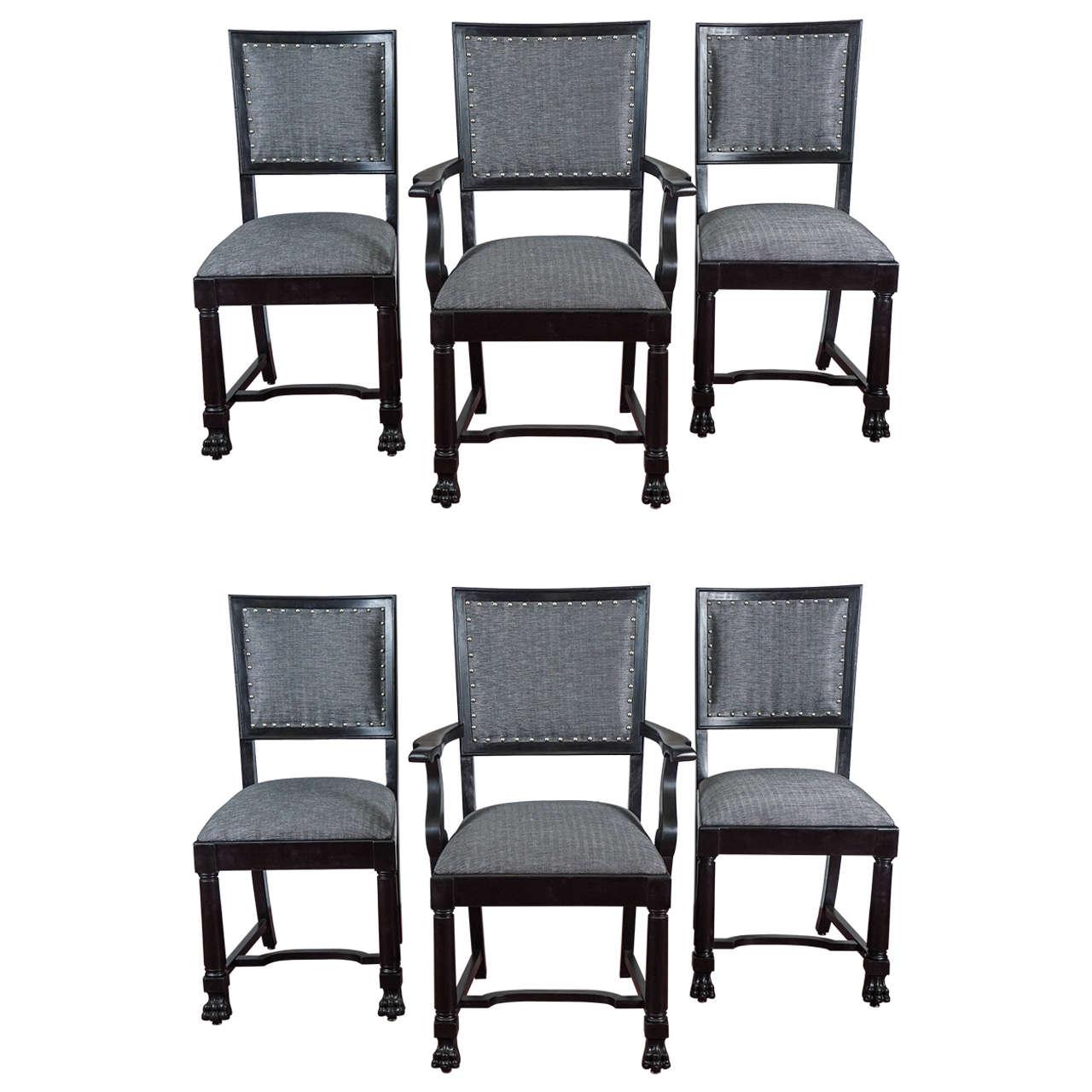 Ebonized Arts & Crafts Style Dining Chairs