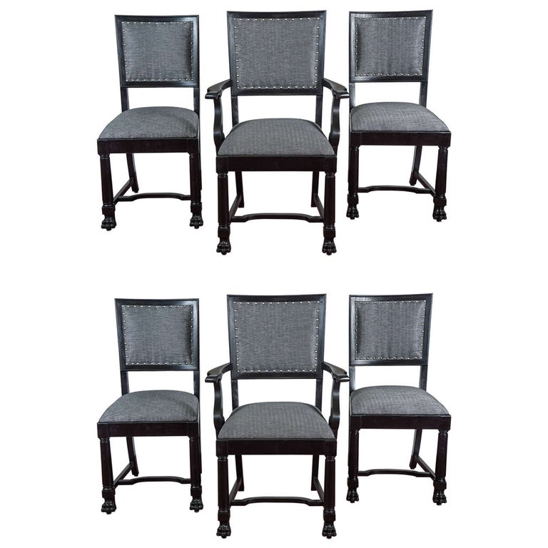 Ebonized Arts & Crafts Style Dining Chairs For Sale