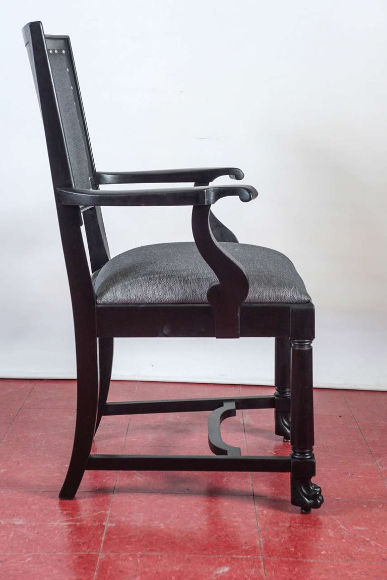Ebonized Arts & Crafts Style Dining Chairs In Excellent Condition For Sale In Great Barrington, MA