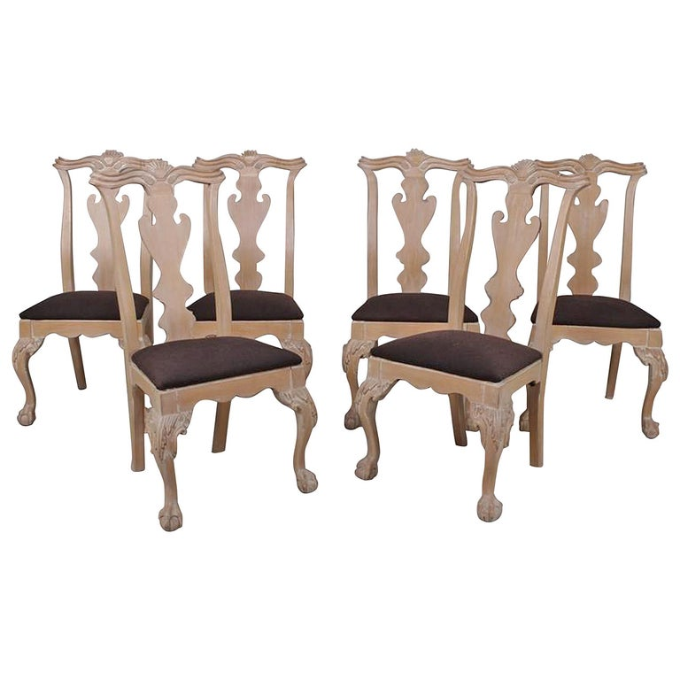 Set of Six Chippendale Style Side Chairs