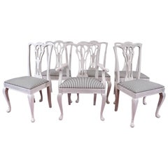Six Painted Chippendale-Style Dining Chairs
