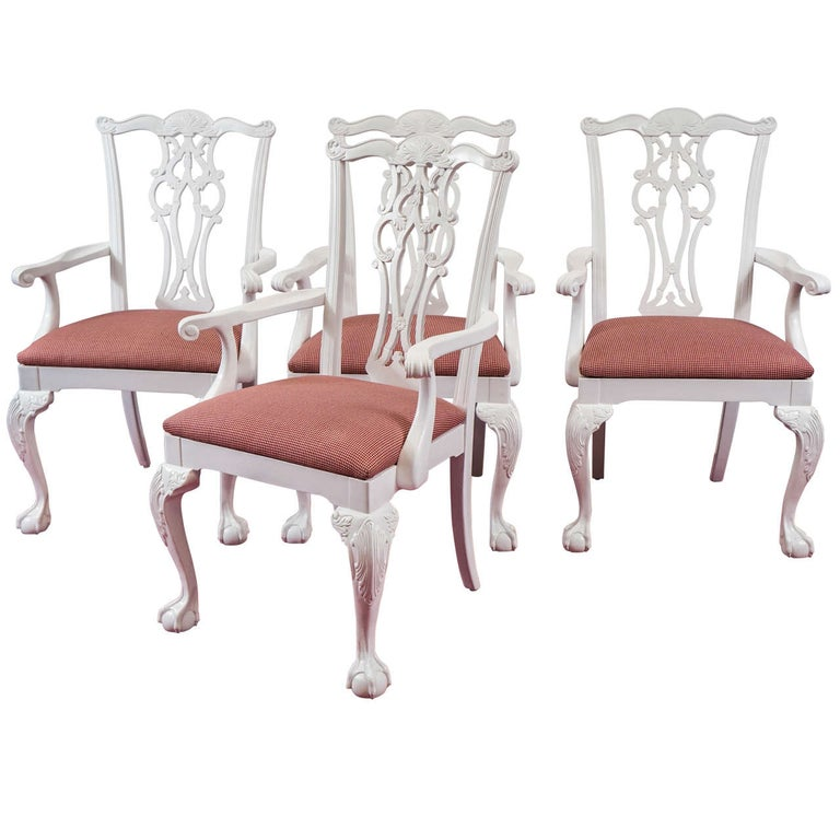 Four Chippendale Revival Dining Armchairs For Sale