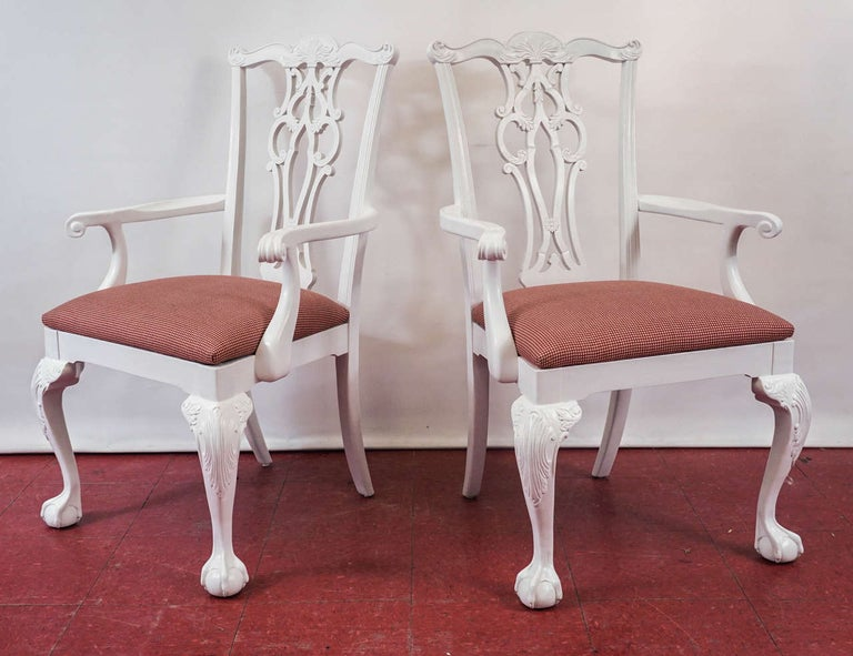 American Four Chippendale Revival Dining Armchairs For Sale