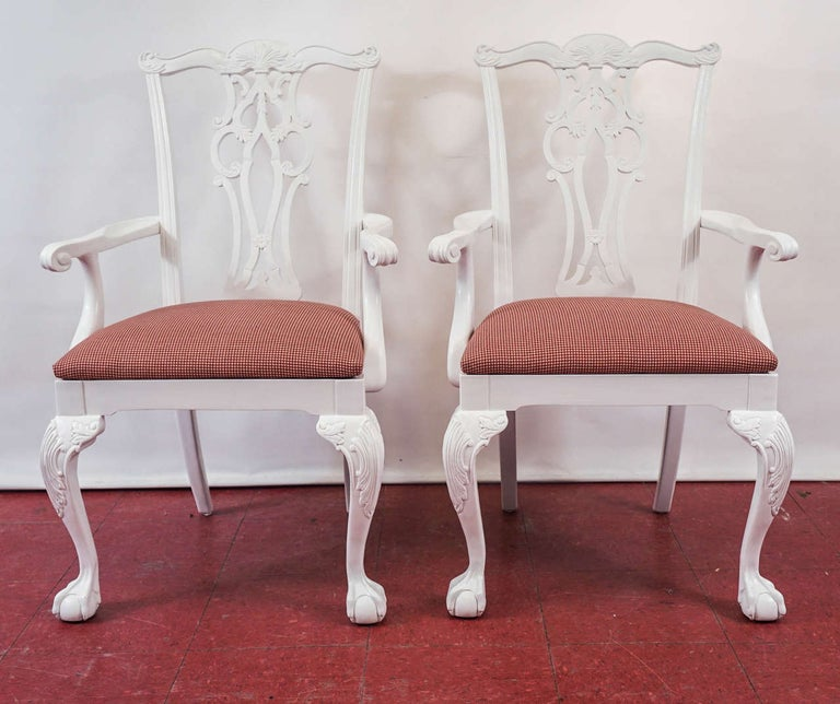 Painted Four Chippendale Revival Dining Armchairs For Sale