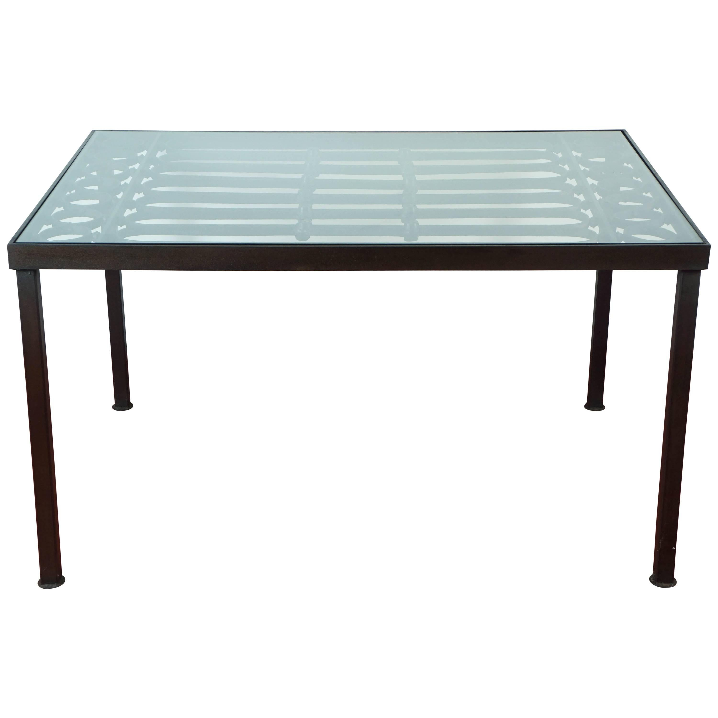 Wrought Iron and Glass Indoor/Outdoor Dining Table