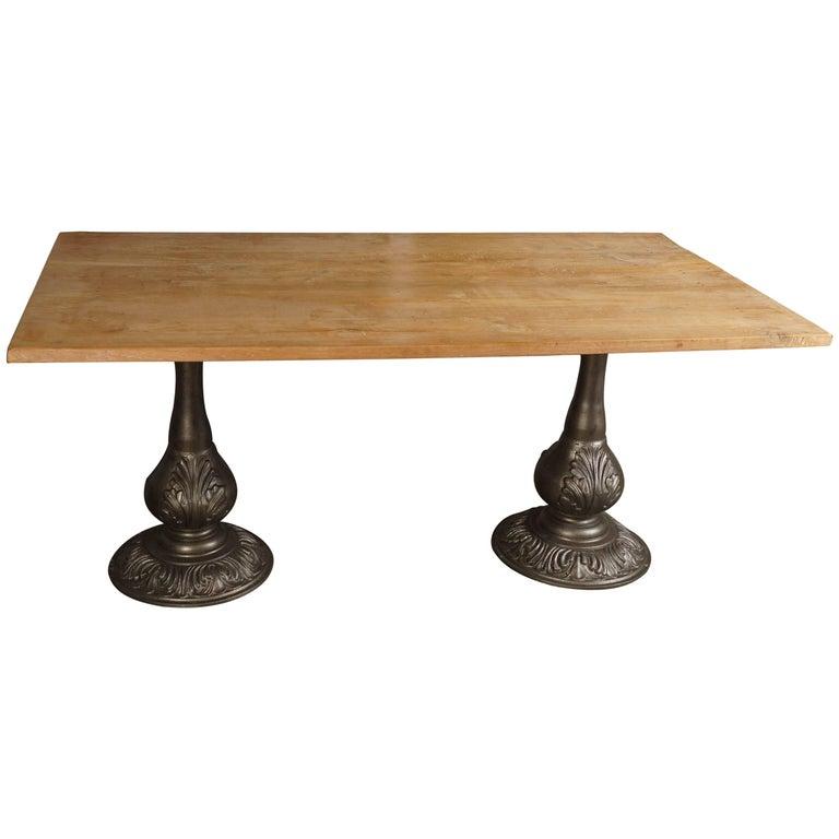 Indoor or Outdoor Teak Table on Twin Metal Pedestal Base For Sale