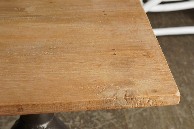 Rustic Indoor or Outdoor Teak Table on Twin Metal Pedestal Base For Sale