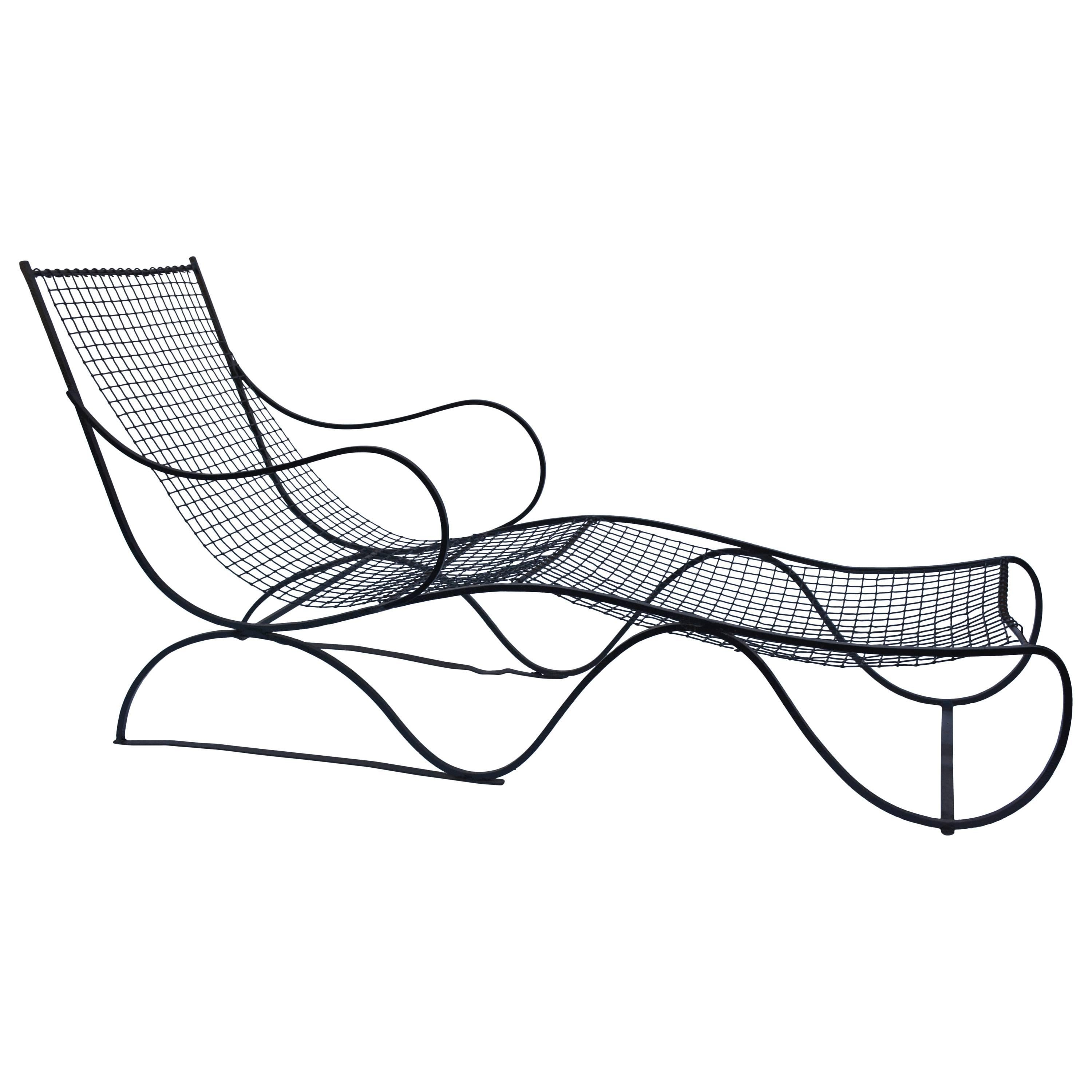 French Patio Wrought Iron Chaise Longue
