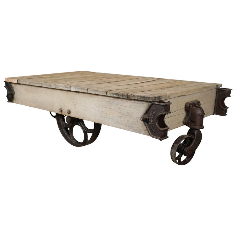 Vintage Industrial Cart Coffee Table For Sale At 1stdibs