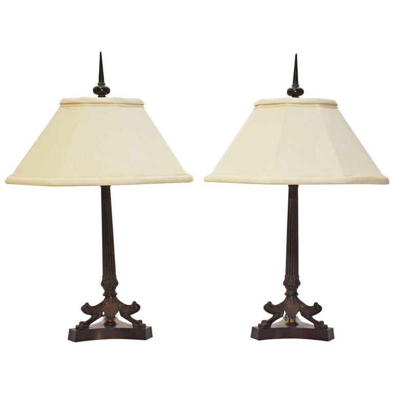 Pair of Classical Bronzed Roman Style Table Lamps For Sale