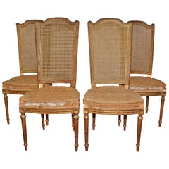 Four Vintage Louis XVI Style Dining Chairs