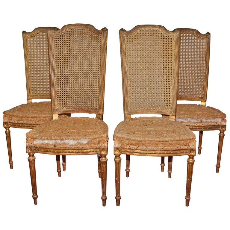 Four Vintage Louis Xvi Style Dining Chairs For