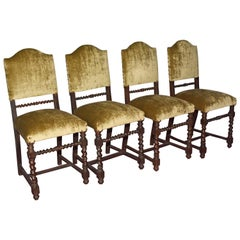Four Antique Jacobean Style Dining Chairs