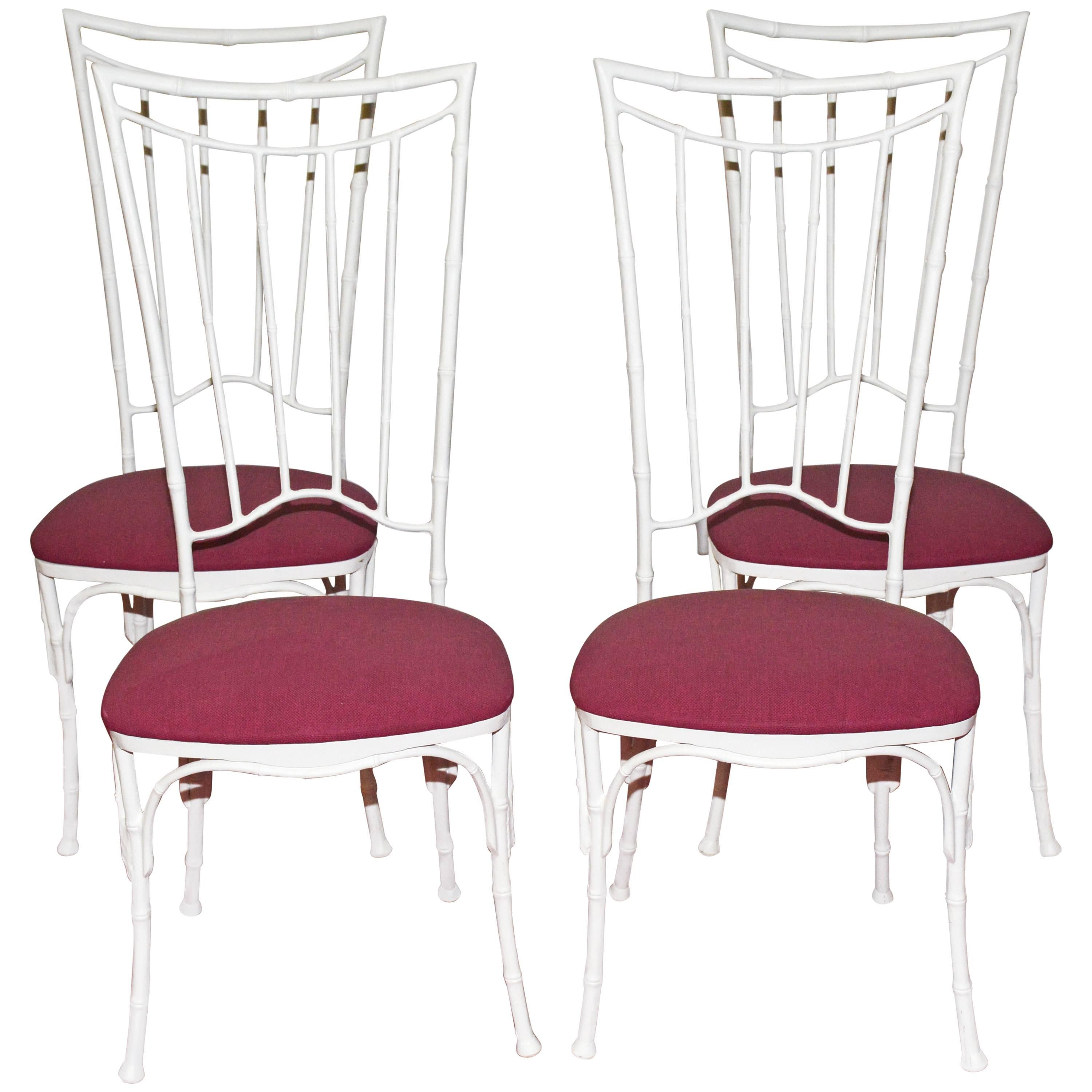 Four Painted Faux Bamboo Wrought Iron Chairs