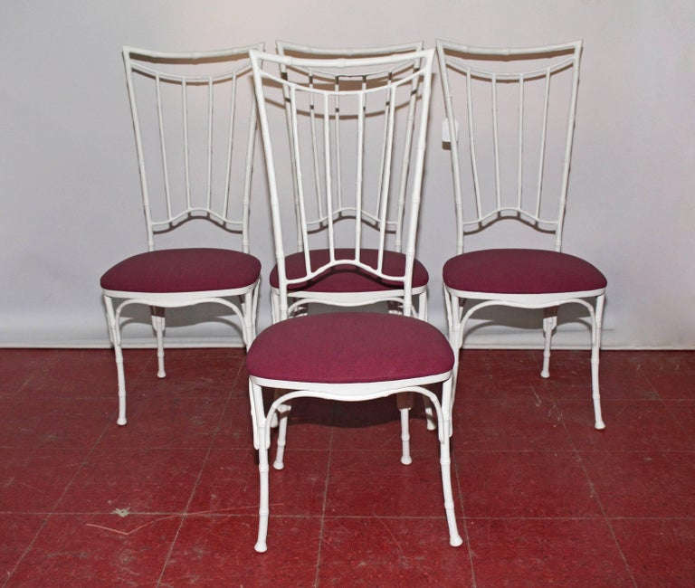 Other Four Painted Faux Bamboo Wrought Iron Chairs For Sale