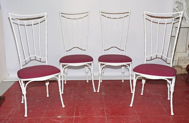American Four Painted Faux Bamboo Wrought Iron Chairs For Sale