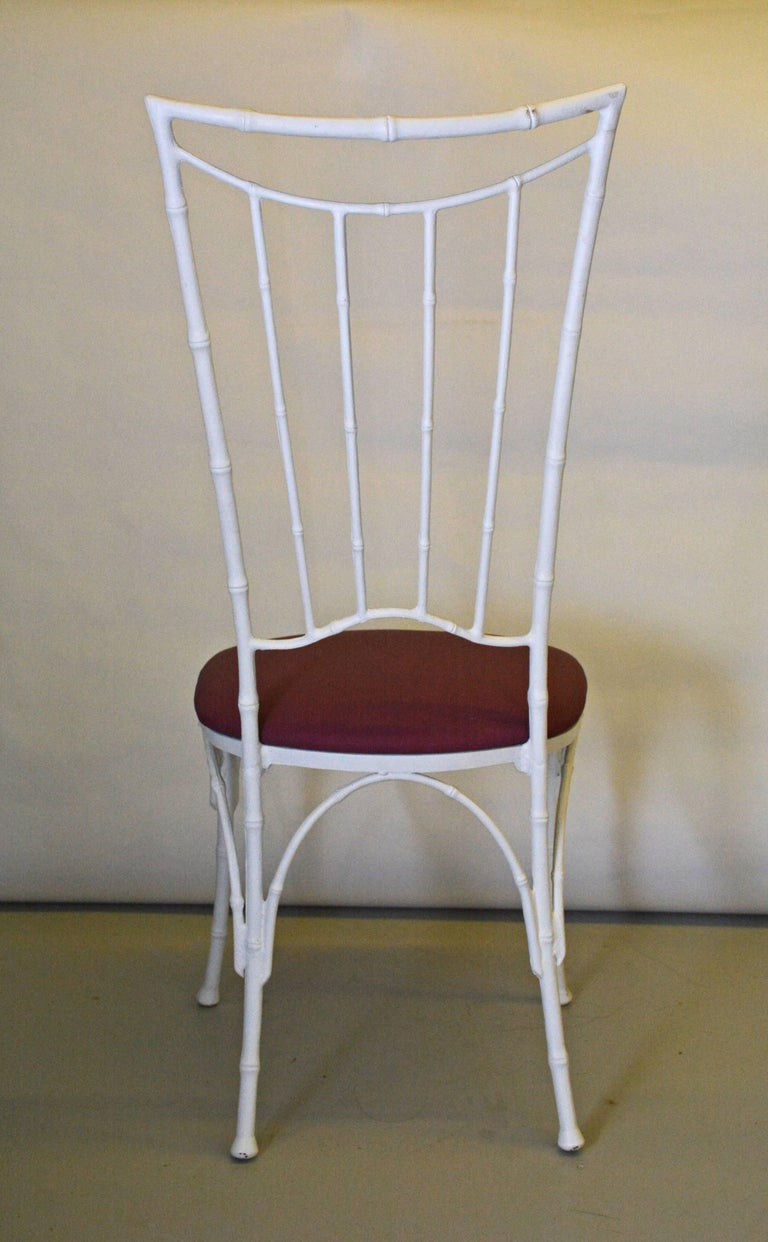 20th Century Four Painted Faux Bamboo Wrought Iron Chairs For Sale