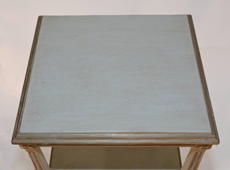 Painted Vintage Neoclassical Two-Shelf Nightstand For Sale