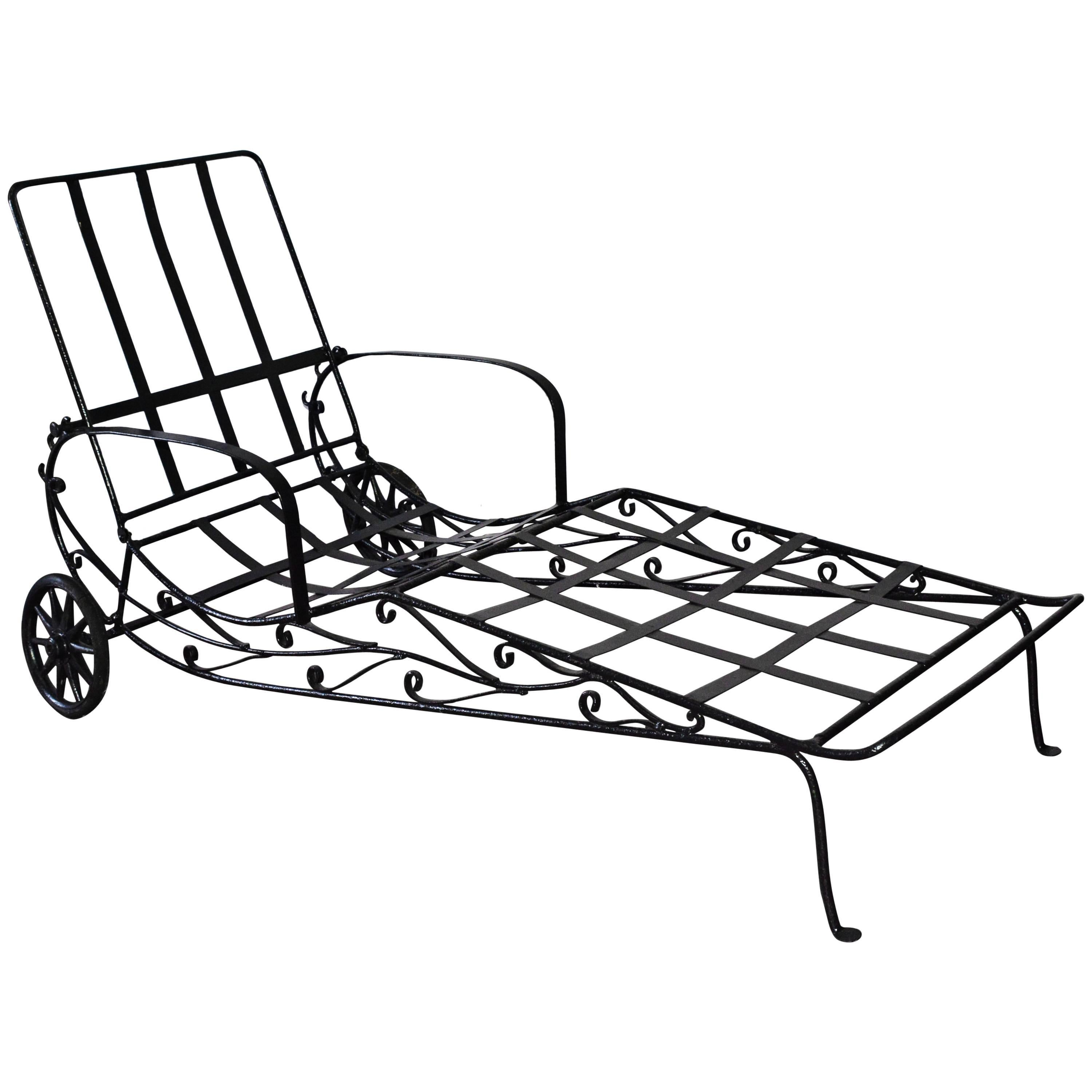 Vintage Wrought Iron Chaise Longue