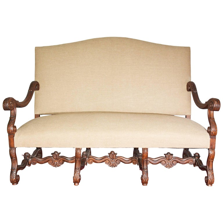 19th Century French Baroque Camelback Throne Settee For Sale