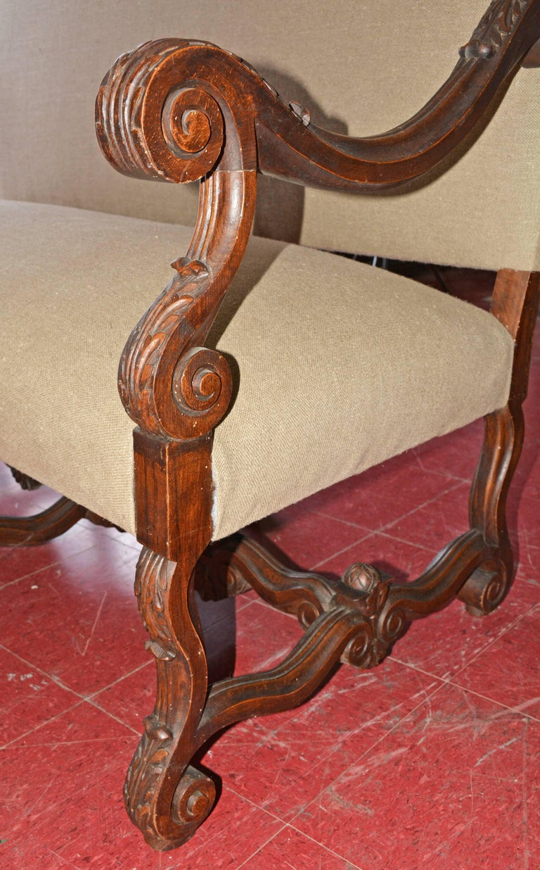 Steel 19th Century French Baroque Camelback Throne Settee For Sale