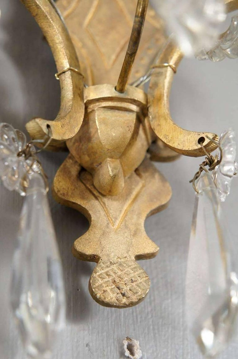 Classic French Crystal Sconces, Pair In Good Condition For Sale In Great Barrington, MA