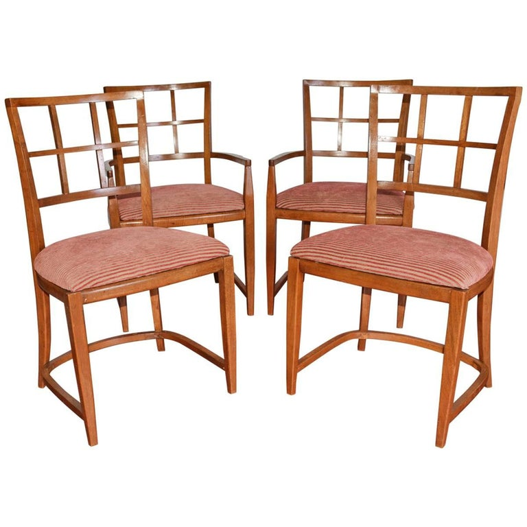 Four Art Deco Dining Chairs For Sale