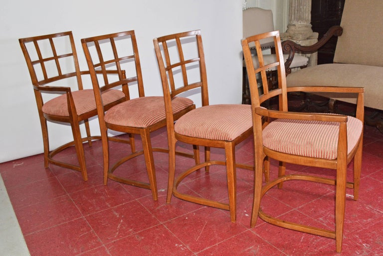 Mid-Century Modern Four Art Deco Dining Chairs For Sale