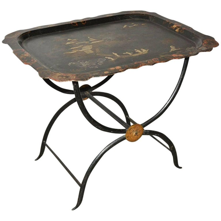 Chinoiserie Tole Tray Table For Sale