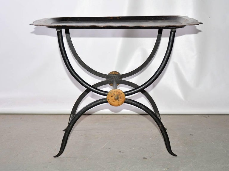 Metal Chinoiserie Tole Tray Table For Sale