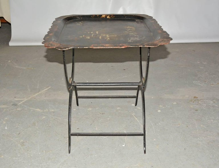 Chinoiserie Tole Tray Table For Sale 1