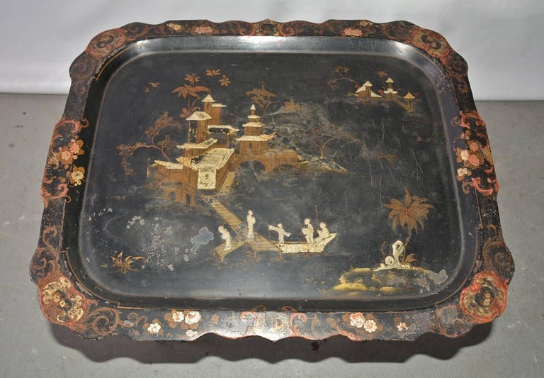 Chinoiserie Tole Tray Table For Sale 2