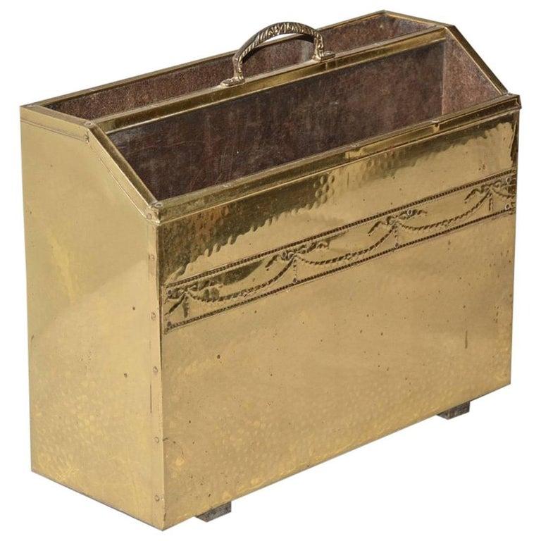 Vintage Hammered Brass Magazine Basket For Sale