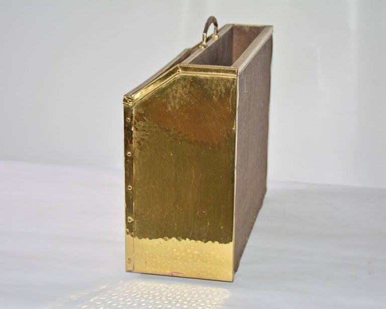 Other Vintage Hammered Brass Magazine Basket For Sale