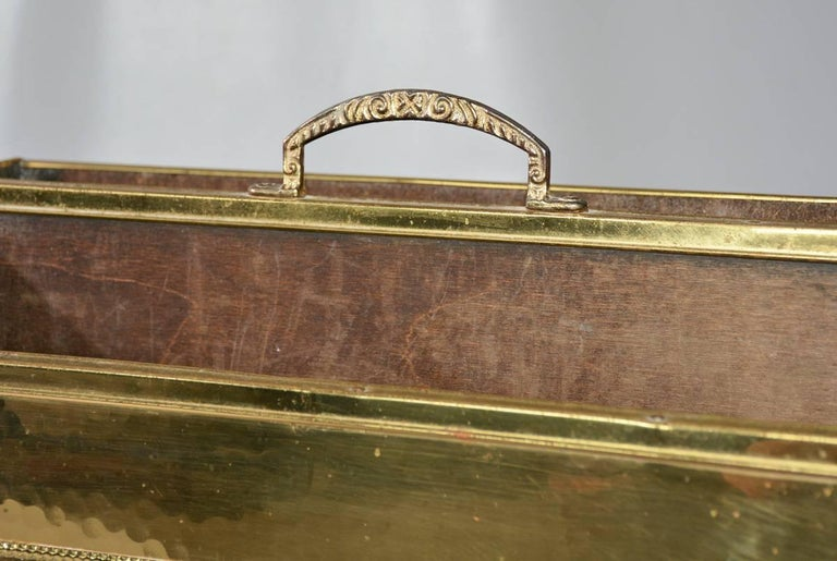 Vintage Hammered Brass Magazine Basket In Fair Condition For Sale In Great Barrington, MA