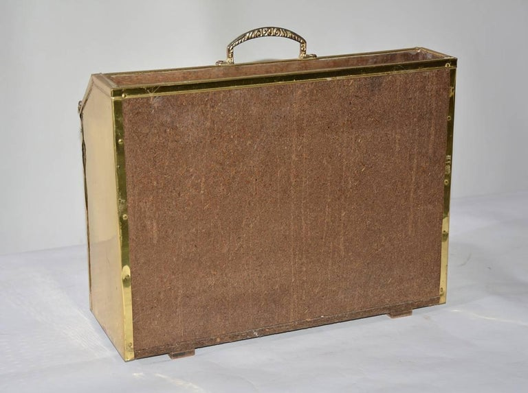20th Century Vintage Hammered Brass Magazine Basket For Sale