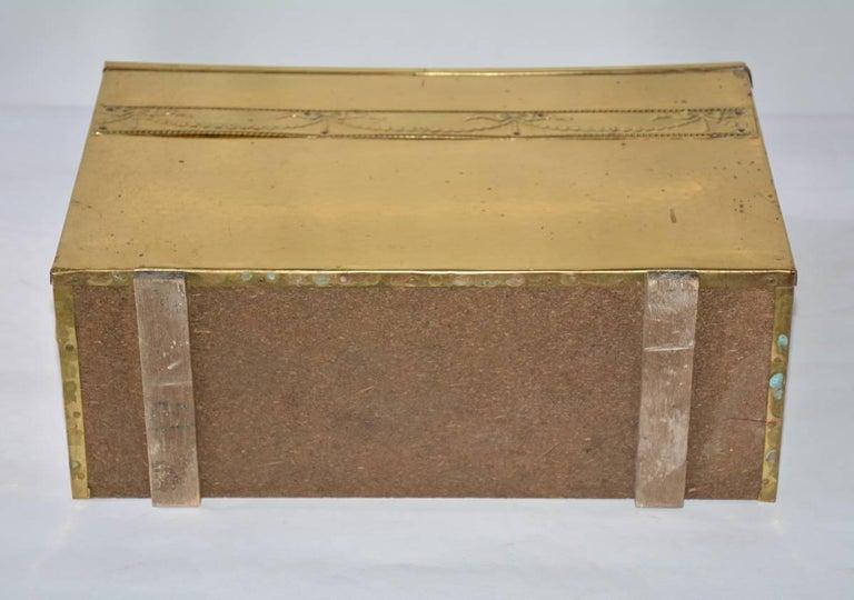 Vintage Hammered Brass Magazine Basket For Sale 1