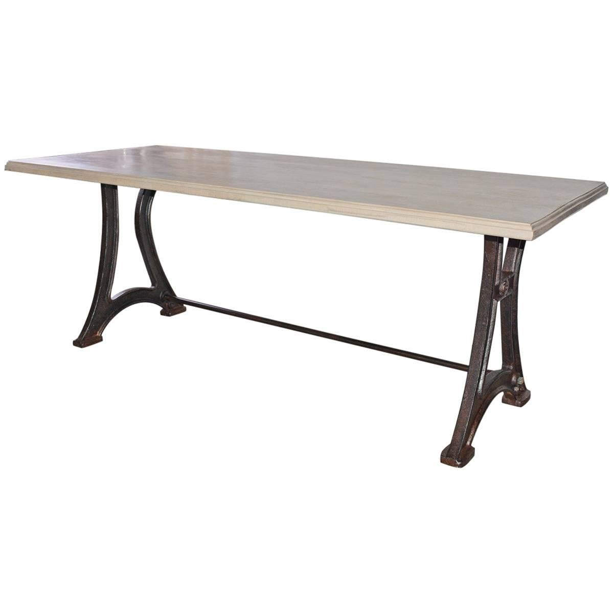 Industrial Cast Iron and Plank Top Dining Farm Table