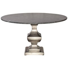 Nickel-Plated Iron Pedestal with Round Marble Stone Top