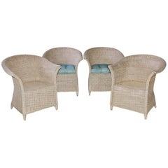 Lloyd Loom Style Wicker Dining Armchairs
